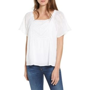 Lucky Brand White Embroidered Peasant Top, Medium